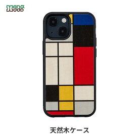 iPhone 13 ケース 天然木 バックカバー Man&Wood Mondrian Wood 【 iPhone 13 / 13 Pro / iPhone 12 Pro / 12 / iPhone11 】 木製 アイフォン13 ケース 背面カバー型 アイフォンケース