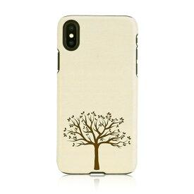 iPhone XS Max ケース天然木 Man&Wood Apple tree(マンアンドウッド アップルツリー)アイフォン カバー 木製