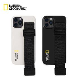 アイフォン 12 ケース ナショジオ Strap Signature Case iphone 12 pro max カバー iphone 12 pro カバー iphone 12 mini ケース ストラップ 背面 北欧 ブラック おもしろ
