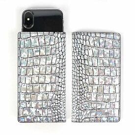 iphone11 pro 手帳ケース スマホケース iPhone 11 Pro ケース 手帳型 スライド式 多機種対応 マルチケース Hologram Croco Diary (ゲイズ ホログラムクロコダイアリー) 「名入れ刻印対象商品」