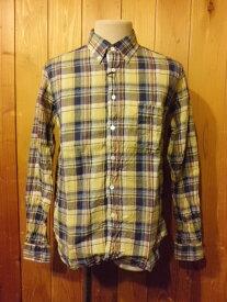 ■メイプル(melple)■リネンチェックB/Dシャツ■イエロー×ネイビー■(メンズ)S/M/Lサイズ