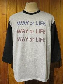 (melple/メイプル) WAY OF LIFE 7分袖TEE■杢グレー×ブラック■(メンズ)M/Lサイズ■2019年春新作