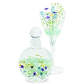 固まるハーバリウムでつくる 丸瓶&ワインカップ ブルーパープル  hbr-qks-4c