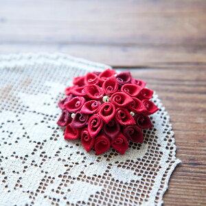 アクセサリーキット ふくろつまみのブローチ つゆつきさんのつまみ細工キット 赤花 PHC-015-1 メール便/宅配便可