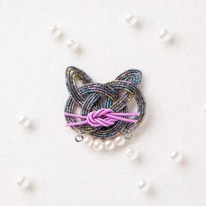 アクセサリーキット ブローチ mizuhikigirlさんの猫 結びキット ブローチ kuro 同色2個セット PHC-054-1 メール便/宅配便可