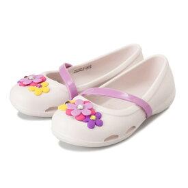 キッズ 【crocs】 クロックス Crocs Lina Charm Flat K (14-21) クロックス リナ チャーム フラット 205529-6PI Barely Pink