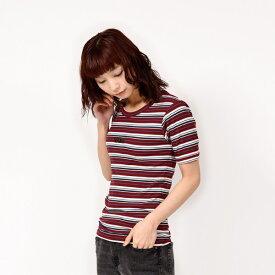 【VANSウェア】Border Rib Girls S/S T-Shirt ヴァンズ ショートスリーブTシャツ VA19SS-GT12 BURGUNDY