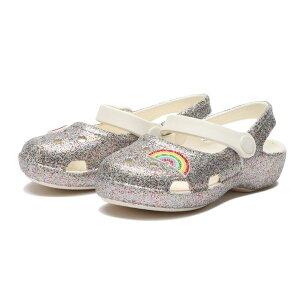 キッズ【crocs】 クロックス 14-19 Classic Glittr Chrm Mry クラシック グリッター チャーム Mry 206370-93R Rainbow