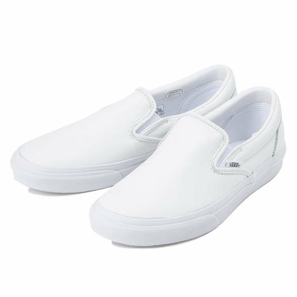 【VANS】 ヴァンズ SLIP ON LEATHER スリッポン レザー V98L2 15FA WHITE