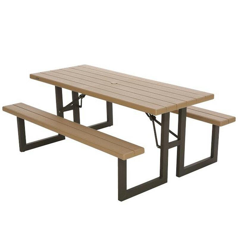 ライフタイム 折り畳み式ピクニックテーブル 6人掛け&テーブル パラソルホール付き ライフ LIFETIME 折りたたみ式 ピクニックテーブル タイムテーブル テーブル アウトドア ピクニック LIFETIME W145×L183×H74cm