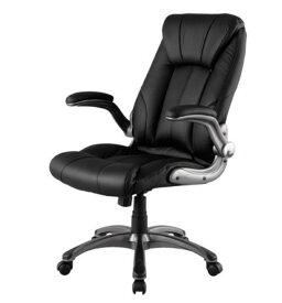 デスクチェア ロッキング機能 ひじ掛け付き キャスター付き オフィスチェア パソコンチェア 椅子 ブラック