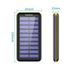 モバイルバッテリー ソーラーチャージ 24000mah超大容量 ソーラーチャージャー 急速充電器 2USB入力ポート(2.1A+2.1A) 3USB出力ポート(2.4A+2.4A+2.4A) 太陽光で充電できる 電源充電可能 3USB出力ポート PSEマーク 取得(黄色)