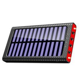 モバイルバッテリー ソーラーチャージ 24000mah超大容量 急速充電器 QuickCharge TSSIBE iPhone / Andoroid 電源充電可 3USB出力ポート 二個LEDランプ搭載 太陽光で充電できる(レッド)