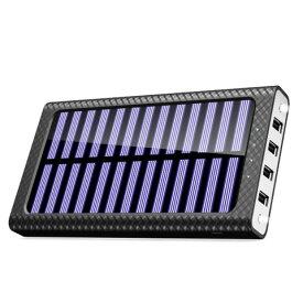 モバイルバッテリー ソーラーチャージ 24000mah超大容量 急速充電器 QuickCharge TSSIBE iPhone / Andoroid 電源充電可 3USB出力ポート 二個LEDランプ搭載 太陽光で充電できる(ホワイト)