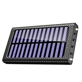 モバイルバッテリー ソーラーチャージ 24000mah超大容量 急速充電器 QuickCharge TSSIBE iPhone / Andoroid 電源充電可 3USB出力ポート 二個LEDランプ搭載 太陽光で充電できる(ブラック)