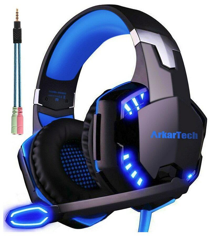 ゲーミングヘッドセット マイク付き ArkarTech G2000 PCゲーム用ヘッドホン ステレオ ヘッドアーム ヘッドフォン 伸縮可能 LED付属 PC Switch PS4 Xbox One MAC Skype対応