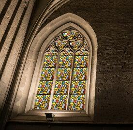 貼るだけで ステンドグラス ステンドガラス 磨りガラス スリガラス 擦りガラス CottonColors 3D窓用フィルム 浴室目隠しシート 断熱/紫外線カット 無接着剤 再利用可能 プライバシーガラスフィルム(90 x 200Cm) [ステンドグラス027]