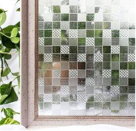 貼るだけで モザイクガラス ステンドグラス モザイク 擦りガラス 磨りガラス 目隠し CottonColors 3D 窓用フィルム 目隠しシート 断熱 紫外線カット 何度も貼直せる ガラスフィルム 90x200cm [夢の間022]