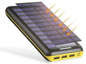 モバイルバッテリー ソーラーチャージ 24000mah超大容量 ソーラーチャージャー 急速充電器 QuickCharge iPhone / Andoroid 太陽光で充電できる 電源充電可能 3USB出力ポート USB扇風機付き PSEマーク 取得済み(黄色)