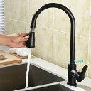 黒/白高アークシングルハンドル引き出しスプレーキッチン蛇口デュアル機能 キッチン用水栓 混合水栓 真鍮製混合栓 (…