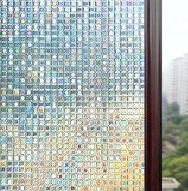 貼るだけで ステンドグラス モザイク柄 3D窓用 フィルム 窓 めかくしシート 目隠し 遮光 断熱 日よけ 風呂 浴室 モザイクガラス 断熱シート 結露防止シート シート シール すりガラス 貼ってはがせる 窓に貼るカーテン 外から見えない おしゃれ (60 x 300cm)