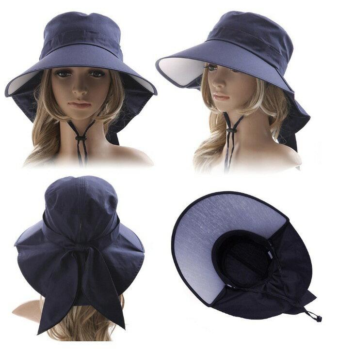(シッギ)Siggi 取り外すあご紐 ポニーテール ネックカバー コットン100% サイズ調節 つば広 uvカット帽子 春夏 レディース 自転車 56-58cm 小顔効果抜群 UVカット UVケア 紫外線対策 完全 予防 紫外線カット 帽子 おしゃれ 68035-ネイビー