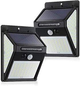 センサーライト 2個 ソーラーライト めちゃくちゃ明るい 140個のLED 人感 両面テープ付 100LED→140LED 防水 屋外自動点灯 シングルモード 外灯 太陽光発電 玄関 庭 駐車場 2個セット 照明の範囲も