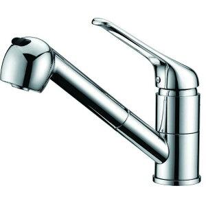 洗面台蛇口 混合水栓 混合栓 キッチン用 台付き(1穴) シングルレバー ホース引き出し式 整流 シャワー切り替え可能 サテンメッキ おしゃれな蛇口 かっこいい オシャレな蛇口 モデルルーム