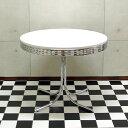 T-グロス 丸型ダイニングテーブル 50'S アメリカン レトロ WH/RD 円形テーブル ホワイト レッド【RT】 【送料無料】…