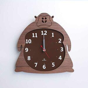 YK14-003ClockZooクロックズーゴリラヒツジクマ掛け時計ウォールクロック壁掛け木目北欧新築引っ越し新居新店プレゼントヤマト工芸