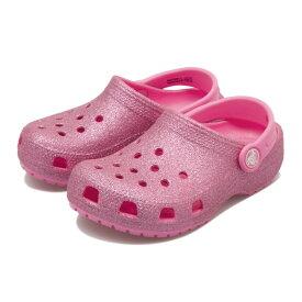 キッズ 【crocs】 クロックス Classic Glitter Clog K P (14-20) クラシック グリッター クロッグ 205441-669 Pink Lemonade