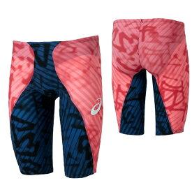 【アシックス】 TIスパッツ ソフトタイプ メンズ 競泳水着 トップレーシング (2161A019) 700 ネイビー×アシックスコーラル