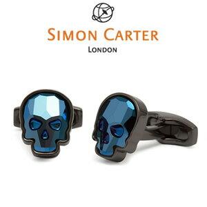 カフス クリスタル スカル ミッドナイトブルー (青紺系) / Simon Carter Swarovski Crystal Skull Clear Cufflink真鍮 スワロフスキー