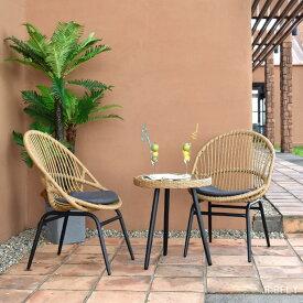 【3点セット】リゾートチェア 二脚+テーブル イス 椅子 いす リゾートテーブル サイドテーブル ガラステーブル ラウンジ ダイニング バルコニー 庭 屋外 アウトドア PEラタン ポリエチレン 籐 丈夫 アジアン ガーデンファニチャー