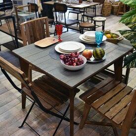 ダイニングテーブル 正方形 テーブル グレー ブラウン ホワイト 古木製 リサイクルウッド アンティーク家具 シャビー家具 アンティーク雑貨 北欧風 レトロ モダン マリン