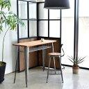 バーテーブル 棚付き ハイタイプ ティーテーブル バー カウンター 机 デスク 長方形 スチール 木製 エルム無垢材 省ス…