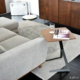 ソファサイドテーブル ナイトテーブル リビングテーブル ノートパソコン用 デスク 正方形 スクエア ウォールナット ブラウン 木製 ブラックスチール脚 ブラウン 北欧 ミッドセンチュリーモダン 西海岸 カフェ 省スペース 一人暮らし