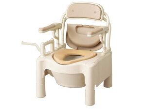 ポータブルトイレ FX-CPはねあげ 快適脱臭 ちびくまくん トランスファータイプ/キャスター付 870-102/870-104【樹脂製ポータブルトイレ/腰掛便座/排泄介護/アロン化成 安寿】