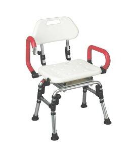 回転式シャワーチェア(アームレスト・背付き)PEタイプ 座面カバー無【入浴介護/入浴用いす/シャワーチェアー】
