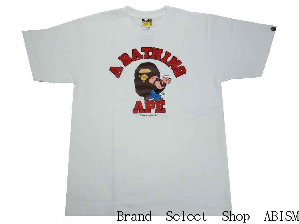 【代引き不可】A BATHING APE(エイプ)xPOPEYE(ポパイ)POPEYE X BAPE COLLEGE TEE #2【Tシャツ】【ホワイト】【MEN'S】【新品】BAPE(ベイプ)