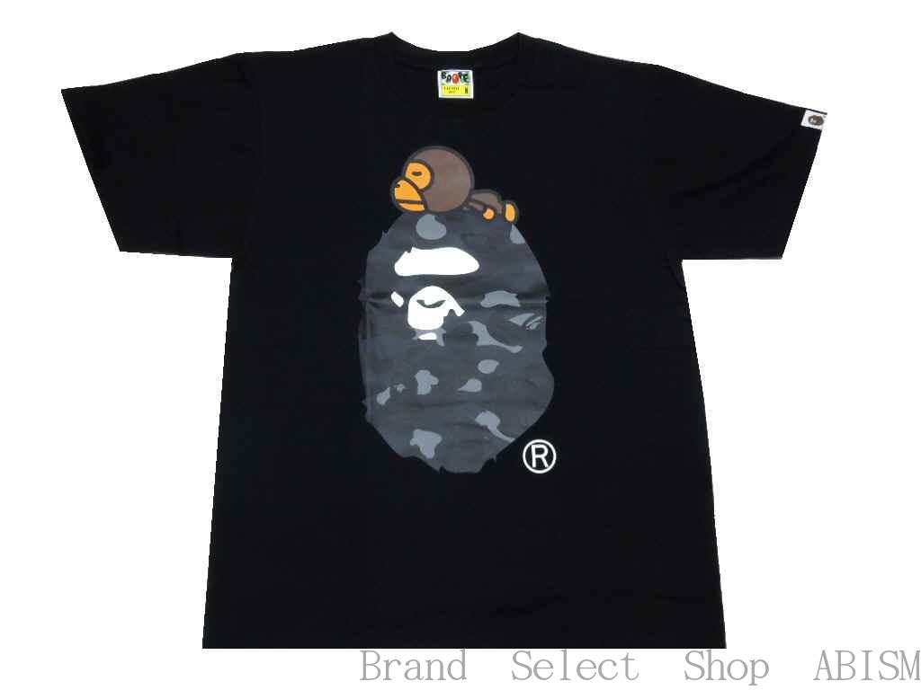 【代引き不可】A BATHING APE(エイプ)COLOR CAMO MILO ON APE HEAD TEE【Tシャツ】【ブラック×ブラック】【新品】【MEN'S】【BAPE/ベイプ】