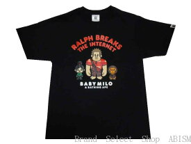 A BATHING APE(エイプ)xシュガー・ラッシュ:オンラインRALPH BREAKS THE INTERNET MILO TEE #1【Tシャツ】【ブラック】【日本製】【新品】【MEN'S】BAPE(ベイプ)