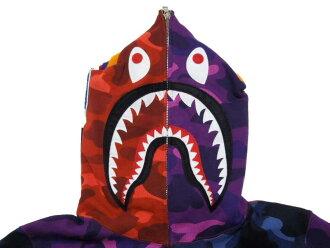 沐浴猿 (猿) 色迷彩疯狂鲨鱼充分邮编帽衫 BAPE bape 鲨鱼充分 JP 美食家 (帕克)