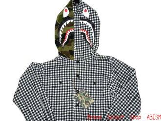 A BATHING APE(에이프) SHARK GINGHAM CHECK 샤크긴감체크 HOODIE SHIRT (셔츠) BAPE 베이프