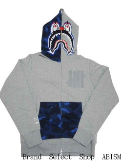 A BATHING APE (APE) × UNDEFEATED PIERROT SHARK FULL ZIP HOODIE clown shark hoodies BAPE (BAPE)