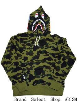沐浴猿 (猿) 1 ST 迷彩鲨鱼套衫连帽衫鲨鱼套衫帽衫 BAPE (BAPE)。
