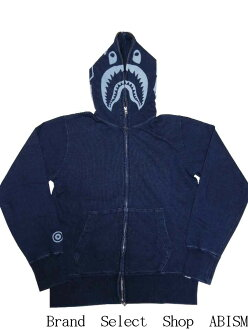 A BATHING APE (APE) INDIGO SHARK FULL ZIP HOODIE shark full zip hoodies BAPE (BAPE)