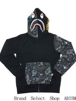 A BATHING APE (APE) SPACE CAMO SHARK FULL ZIP HOODIE shark full zip hoodies BAPE (BAPE)