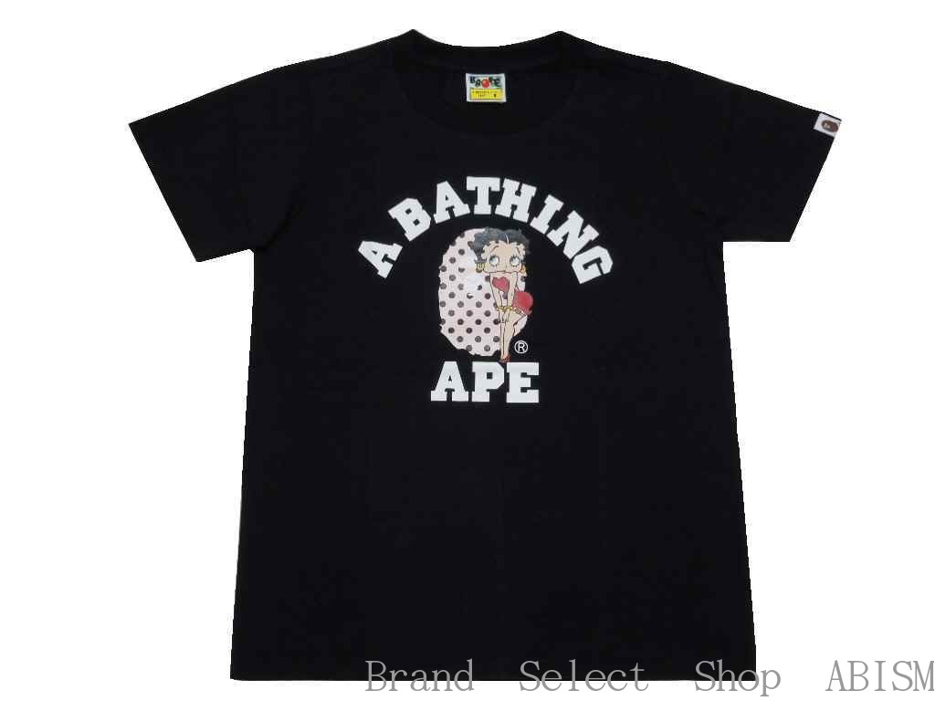 【代引き不可】★レディースサイズ★A BATHING APE(エイプ)BAPE x BETTY COLLEGE TEE【Tシャツ】【ブラック】【新品】【LADY'S】【BAPE/ベイプ】