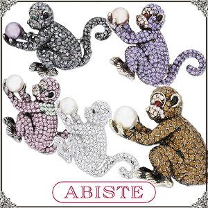 ABISTE(アビステ)クリスタルモンキーブローチ&ペンダントヘッド/クリア、ピンク、パープル、ブラウン、ブラック レディース 女性 人気 上品 大人 かわいい おしゃれ アクセサリー ブランド